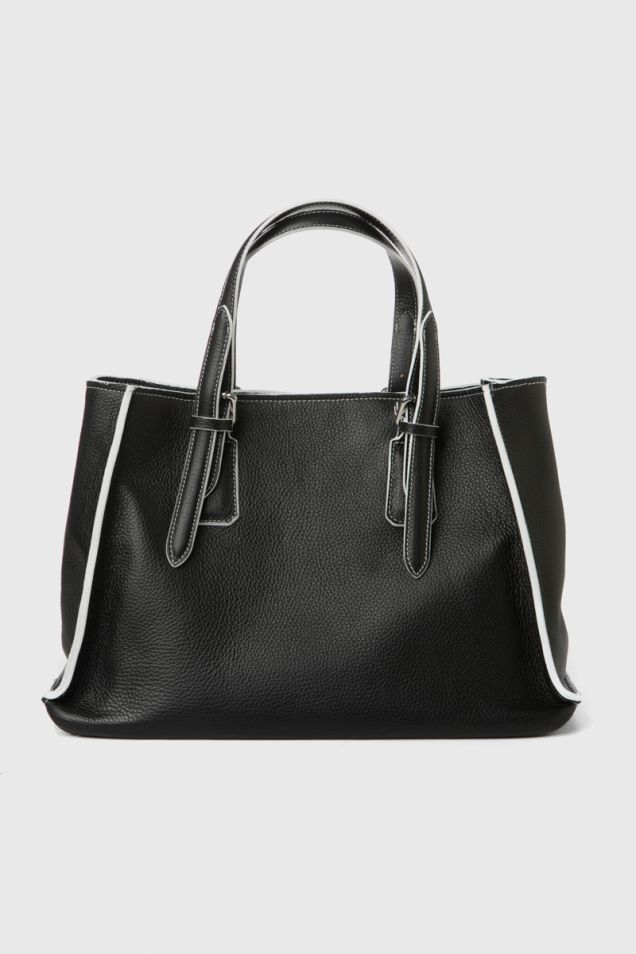 Black leather tote bag with white details