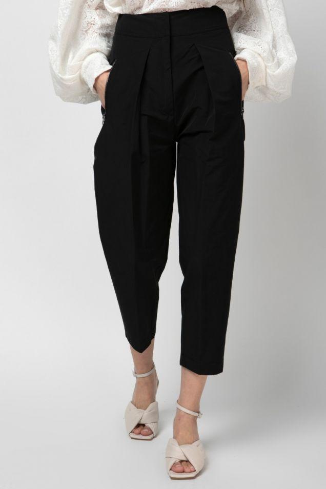 Black pleated  tapered pants