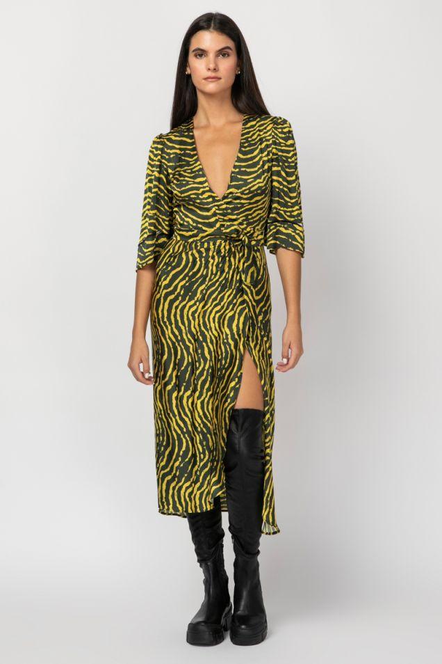 Printed midi wrap dress