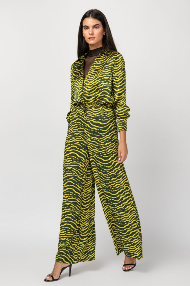 Printed wide-leg trousers