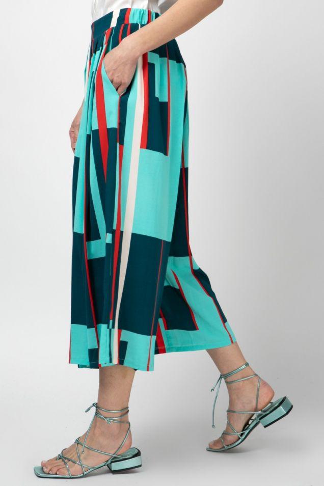 Printed jupe-culotte