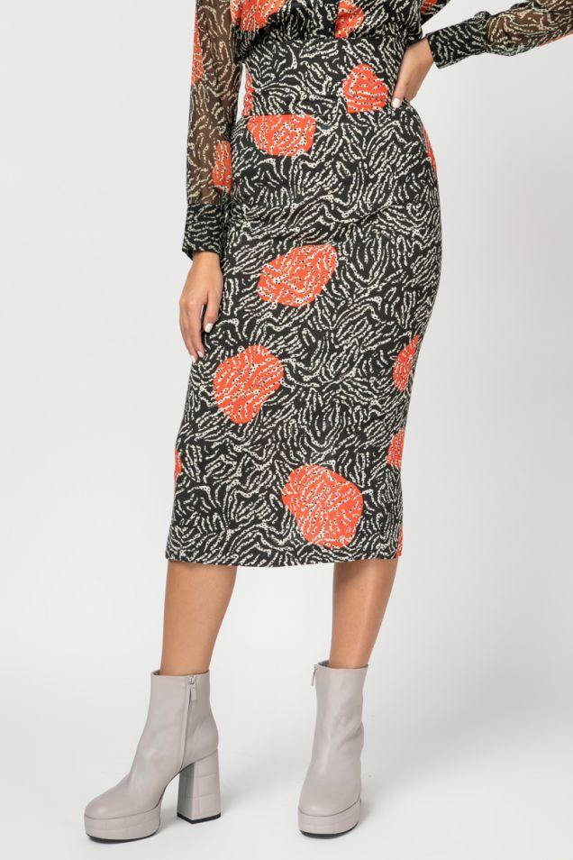 High-waist midi skirt