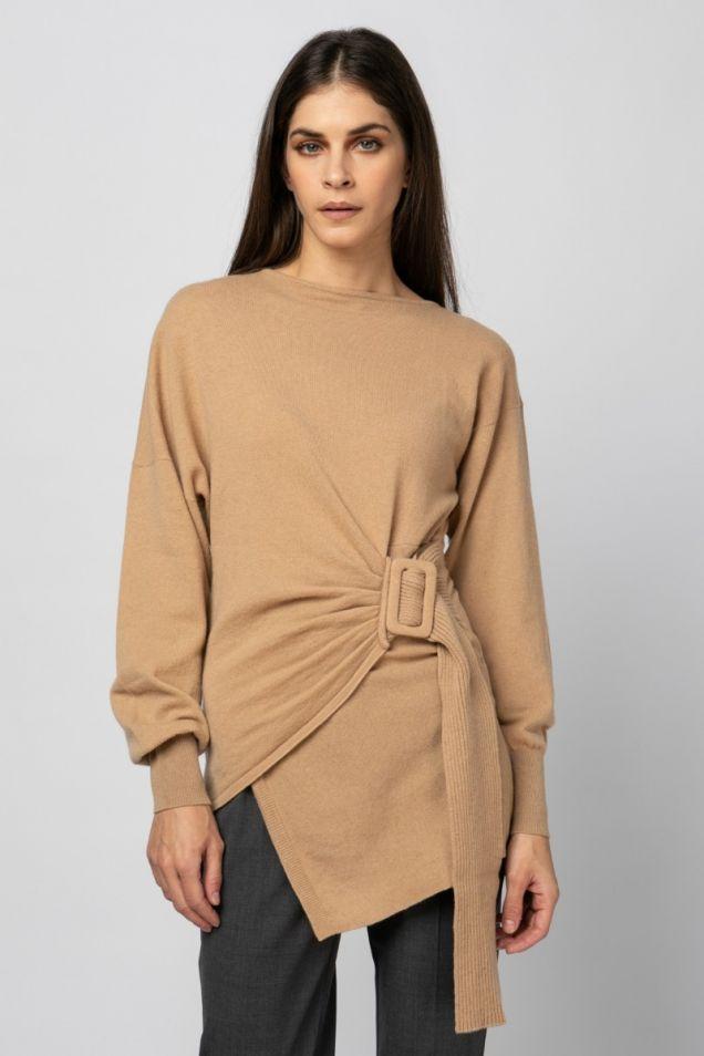 Beige belted  knit blouse