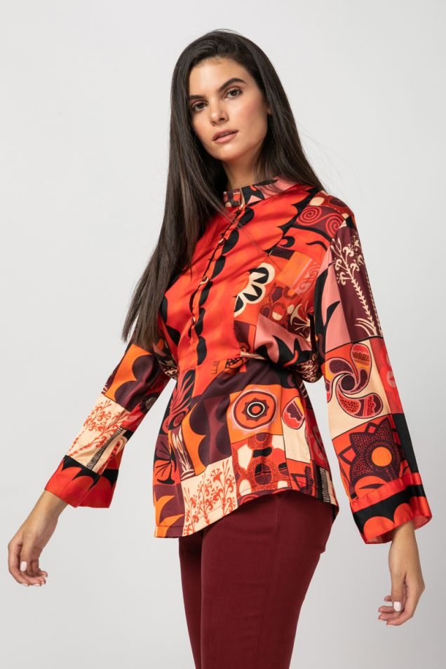 Blouse with plastron