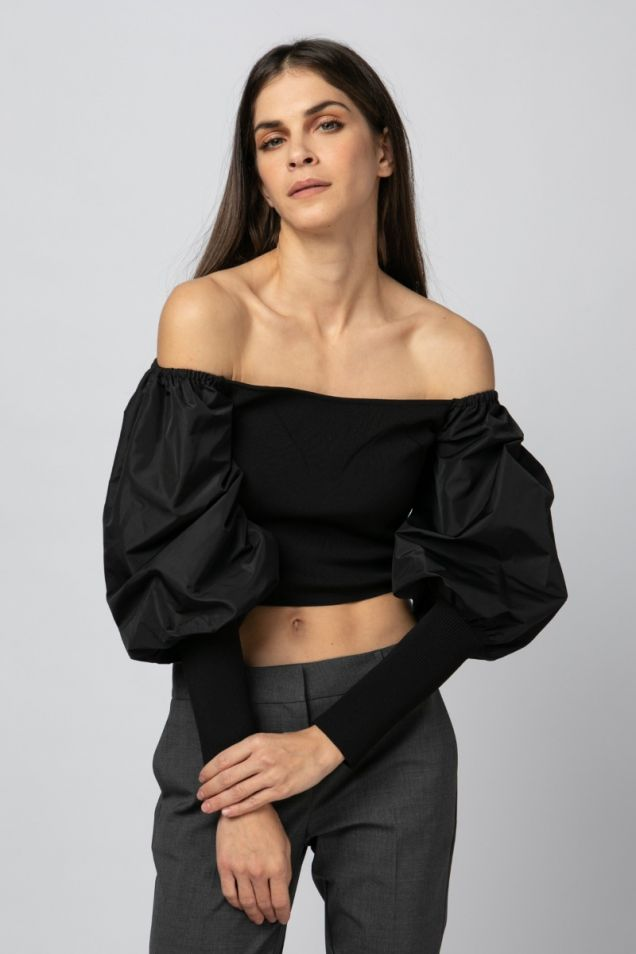 Off-shoulder black top