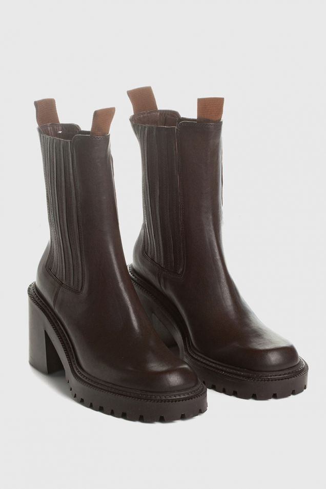 Brown calfskin beatle boots with lugged sole