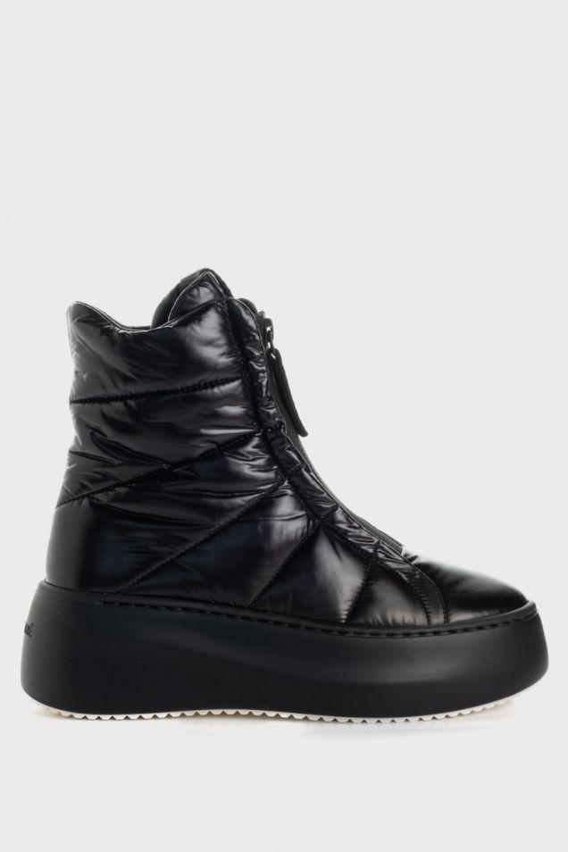 Black nylon high-top platform sneakers