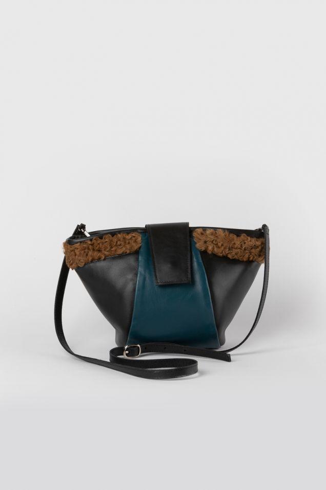 Blue structured shoulder bag