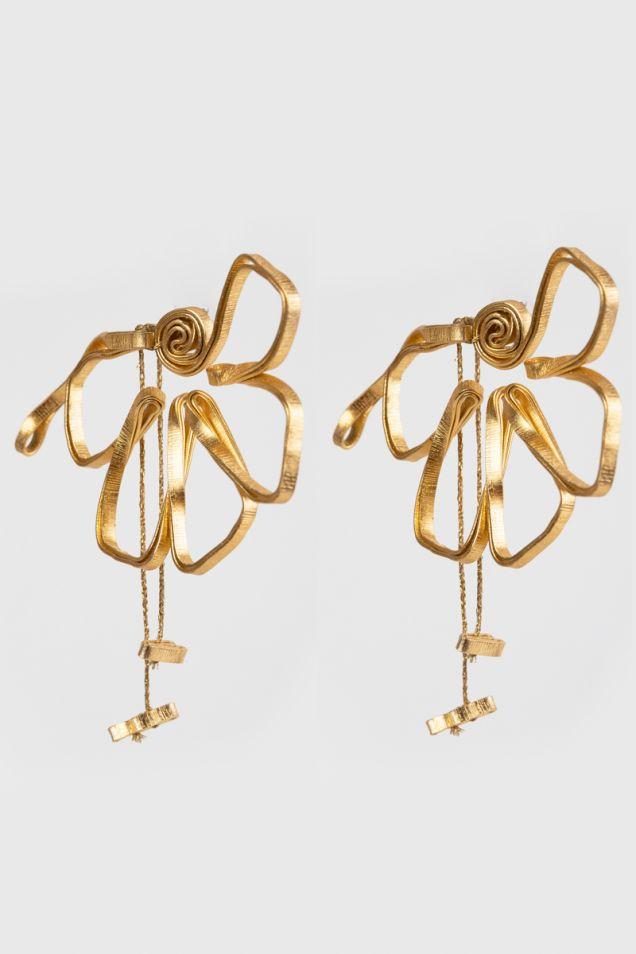 Σκουλαρίκια με χρυσά λουλούδια
